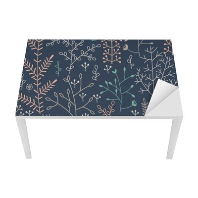 seamless pattern with minimalistic floral ornament Table & Desk Veneer