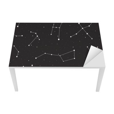 Starry night, seamless pattern, background with stars and constellations, vector illustration Table & Desk Veneer