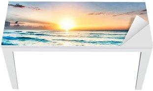 Sunrise over beach in Cancun Table & Desk Veneer