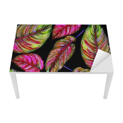 Tropical foliage seamless pattern. Colorful leaves of exotic Calathea Ornata plant on black background, vibrant colors. Handmade watercolor illustration. Table & Desk Veneer