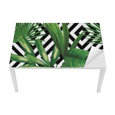 tropical palm leaves pattern, geometric background Table & Desk Veneer