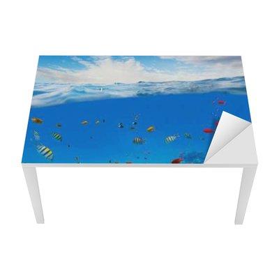 Underwater coral reef with horizon and water waves Table & Desk Veneer