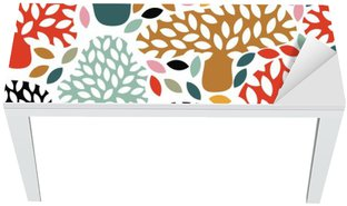 Table & Desk Veneer Vector multicolor seamless pattern with hand drawn doodle trees. Abstract autumn nature background. Design for fabric, textile fall prints, wrapping paper.