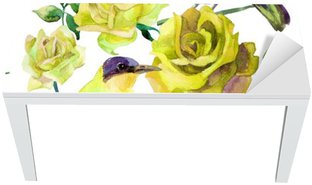 Watercolor birds on the yellow roses Table & Desk Veneer