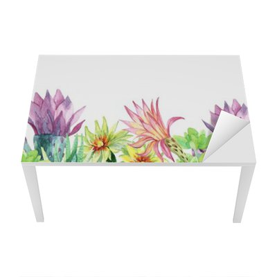 Watercolor blooming cactus background Table & Desk Veneer