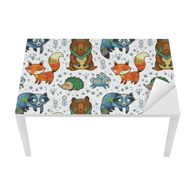 Woodland annimals seamless pattern Table & Desk Veneer