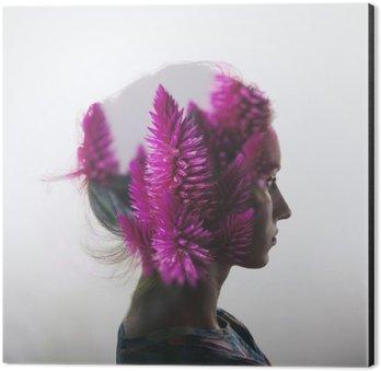 Tableau Alu-Dibond Double exposition Creative avec le portrait de la jeune fille et des fleurs
