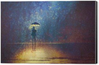 Tableau Alu-Dibond Femme solitaire sous les lumières de parapluie dans la, peinture numérique sombre