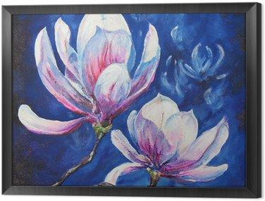 Tableau en Cadre Acrylique Magnolia peint