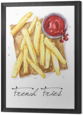 Tableau en Cadre Aquarelle Food - French Fries