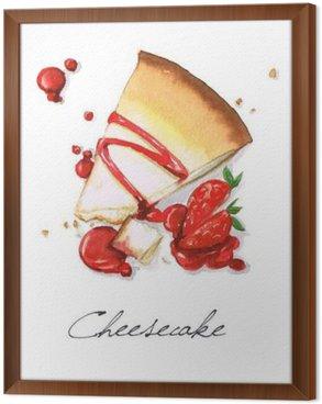 Tableau en Cadre Aquarelle Peinture alimentaire - Cheesecake