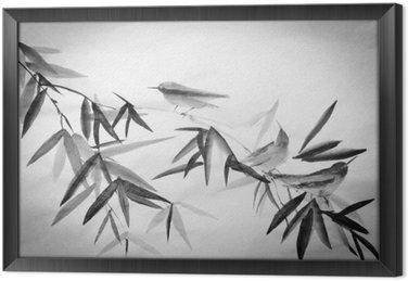 Tableau en Cadre Bambou et trois birdies branche