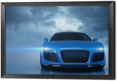 Tableau en Cadre Bleu voiture de sport