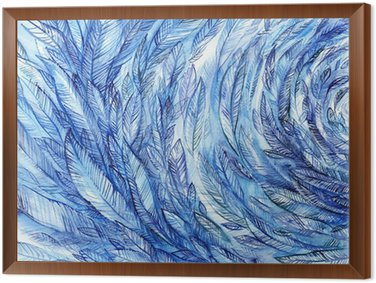 Tableau en Cadre blue feathers in a circle, watercolor abstract background