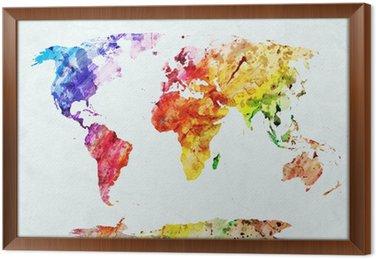 Tableau en Cadre Carte du monde aquarelle