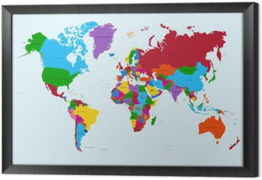 Tableau en Cadre Carte du monde, pays coloré atlas fichier vectoriel EPS10.