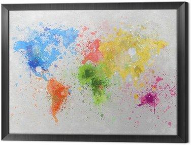 Tableau en Cadre Carte du monde peinture