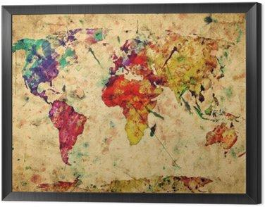 Tableau en Cadre Carte du monde vintage. Peinture colorée, aquarelle sur papier grunge