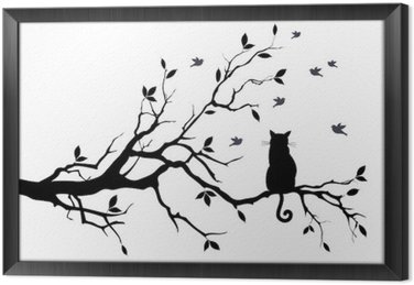 Tableau en Cadre Chat sur un arbre avec des oiseaux, vecteur