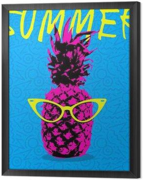 Tableau en Cadre Conception d'été de l'ananas avec des lunettes hipster