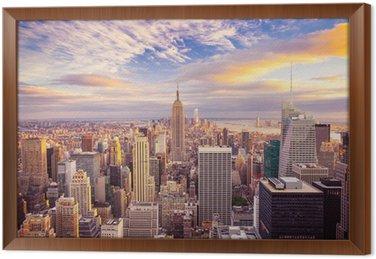 Tableau en Cadre Coucher de soleil sur le centre de Manhattan