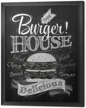 Tableau en Cadre D'affiche de lettrage Burger House peint avec un hamburger et inscr