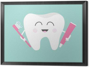 Tableau en Cadre Dent de maintien du dentifrice et brosse à dents. Bande dessinée mignonne drôle de personnage souriant. Enfants dents soins icon. hygiène dentaire Oral. la santé des dents. Bébé fond. Design plat.