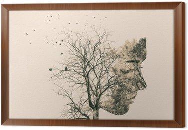Tableau en Cadre Double portrait d'exposition des jeunes femme et arbres de l'automne.