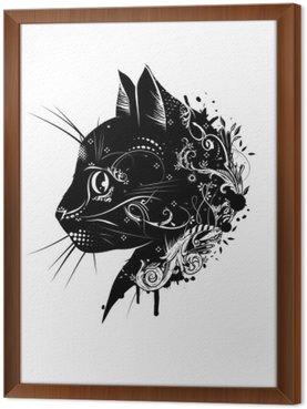 Tableau en Cadre Ein floral verzierter Katzenkopf im Scherenschnitt Stil__ de Kopf einer Katze