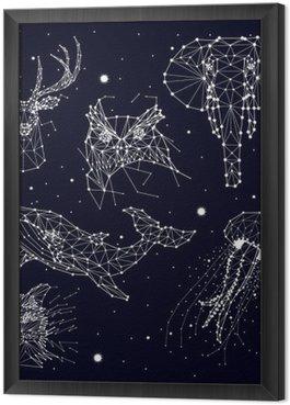 Tableau en Cadre Ensemble de la constellation, l'éléphant, le hibou, le cerf, les baleines, les méduses, le renard, étoiles, graphiques vectoriels