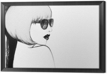 Tableau en Cadre Femme avec des lunettes. illustration d'aquarelle