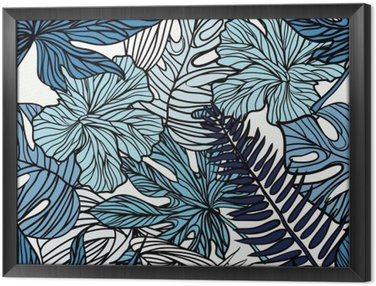 Tableau en Cadre Fleurs exotiques tropicales et des plantes avec des feuilles vertes de palmier.