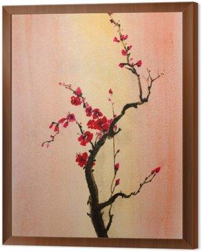 Tableau en Cadre Floraison branche de cerisier