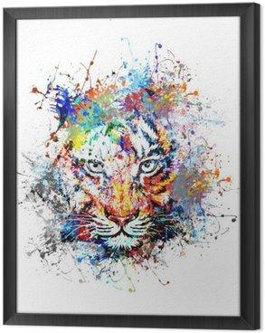 Tableau en Cadre Fond clair avec le tigre