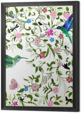Tableau en Cadre Fond floral avec un oiseau