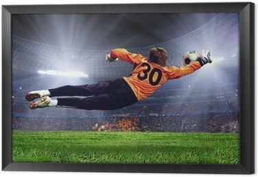 Tableau en Cadre Football goalman sur la pelouse du stade