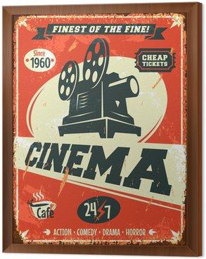 Tableau en Cadre Grunge affiche de cinéma rétro. Vector illustration.