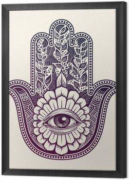 Tableau en Cadre Hamsa. main de Fatima, symbole de bonne chance