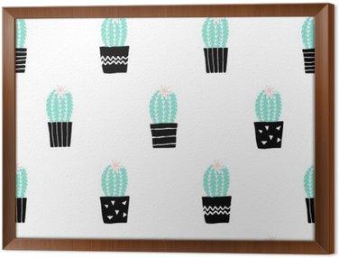Tableau en Cadre Hand Drawn Cactus Motif