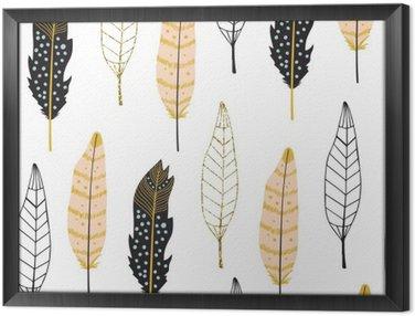 Tableau en Cadre Hand Drawn Feathers Pattern Seamless