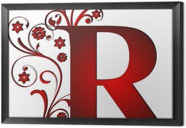 Tableau en Cadre Lettre majuscule R rouge