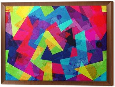 Tableau en Cadre Lumineux motif géométrique parfaite avec effet grunge