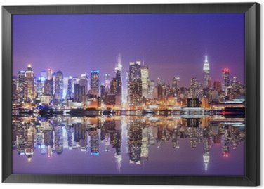 Tableau en Cadre Manhattan Skyline avec réflexions