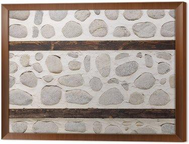 Tableau en Cadre Mur de pierre avec deux poutres en bois