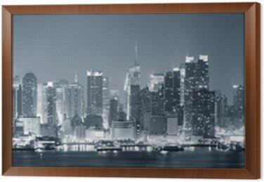 Tableau en Cadre New York City Manhattan en noir et blanc