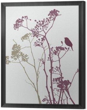 Tableau en Cadre Oiseau sur les fleurs de prairie