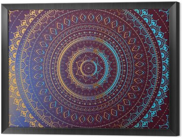 Tableau en Cadre Or Mandala. Motif décoratif indien.