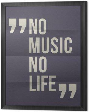 """Tableau en Cadre """"Pas de music no life"""" citation sur plié en huit fond de papier"""