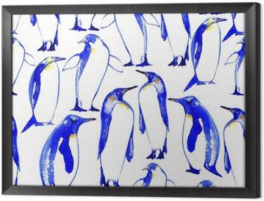 Tableau en Cadre Penguins seamless main pattern.Watercolor illustration tirée.