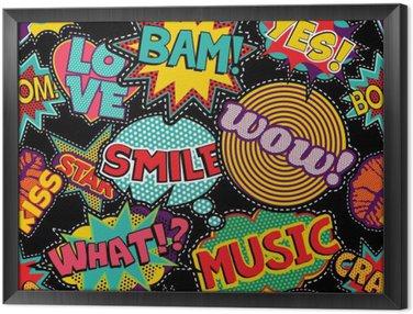 Tableau en Cadre Pop art comique point patch seamless